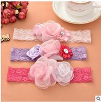 бутон шелковая лента оптовых-Детская три цвета ленты для волос кружева цветы бутон шелка детские детские волосы шин три цвета можно выбрать