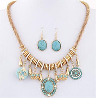 Wholesale Turquoise Statement Earrings - DHL Fashion New Vintage Style Bohemian Turquoise Women Jewelry Sets Statement Necklace Earring Sets for Women 2016 Hot