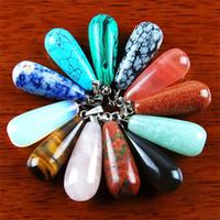 lágrima cuentas de piedras preciosas al por mayor-Qs68 12Pcs Mixed Gemstone Teardrop Pendant Bead Enviar aleatoriamente