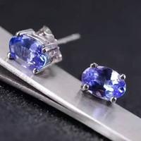 Wholesale Solid Gold Gemstone - Dazzing tanzanite stud earrings 4*6mm natural tanzanite gemstone earrings solid 925 silver tanzanite earring small gemstone earrings