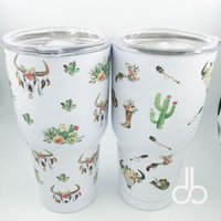Wholesale Skull Mugs - Cactus Flower Yowies Tumbler Arrow Skull Stainless Steel Double Wall Insulated Tumbler with Lid, 30oz camper cup&mug DOM106330