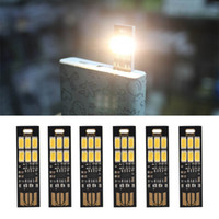 Wholesale Led Light Pockets - 5pcs Creative Pocket Lamp Bulb 6 Led Keychain Mini LED Night Light Portable USB Touch Dimmer Light Power Bank Computer Laptop