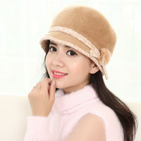 Wholesale Pink Hair Berets - Wholesale- Beret Hat 2016 New Autumn And Winter Knitting Hats For Women Warm fashion Flowers hair ball splicing Femme Christmas Cap