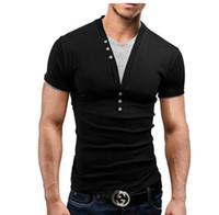 t-shirts manches mâles achat en gros de-Mode Hommes À Manches Courtes Marque T-shirt V-Neck Hommes T-Shirt Personnalité T-shirt Drôle Chemise Homme Hip Hop T-shirts