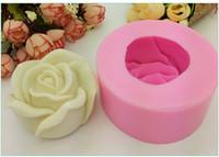 molde de silicona fondant rose al por mayor-3D Rosas Estéreo Líquido Líquido Rosa Fondant Cake Molde Rosa Jabón hecho a mano de silicona Pastel Molde Herramientas de decoración de pasteles El tamaño es 8.1 * 8.1 * 4 cm