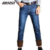 Wholesale mens fleece jeans - Wholesale-Thick Fleece Winter Jeans Men 2016 New Arrival Solid Casual Denim Pants Straight Windproof Warm Mens Jeans Plus Size MYA0476