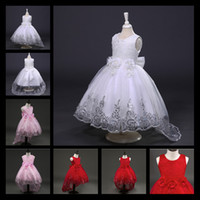 Wholesale Evening Gowns Rhinestones - 2017 New White Red Lace Tulle Flower Girl Dress Princess Pearl Ball Gown Party Wedding Girls Dresses For 2-12 Y Evening Gowns