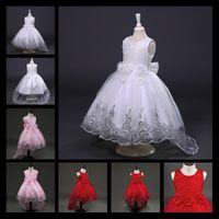robe de robe de princesse rouge achat en gros de-2017 Nouveau Blanc Rouge Dentelle Tulle Fleur Fille Robe Princesse Perle Robe De Bal Parti De Mariage Filles Robes Pour 2-12 Y Robes De Soirée