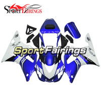 Wholesale Yzf Cowling - Blue White Full Motorcycle Fairing Kit For Yamaha YZF1000 YZF 1000 R1 Year 2000 2001 ABS Plastics Motorcycle Cowlings Motorbike R1 Fairing