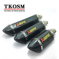 Wholesale stainless steel exhaust muffler - TKOSM Motorcycle Exhaust Universal 51mm 3 Size Length 570mm 470mm 380mm Stainless Steel Carbon Fiber Akrapovic Face Motorbike Exhaust Pipe
