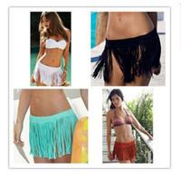 Wholesale Stretch Beach Skirts - Bikini beach cover ups Stretch tassel summer holiday beach short skirt Hollow out Crochet bohemian vacation seaside dresses swimwear 2017