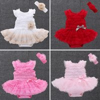 Wholesale Tulle Rompers Baby - Summer Baby Girl Dress Baby Rompers+Flower Headband Girls tutu Dress Infant One-piece Jumpsuit Girls Princess Lace Dresses Baby Clothes