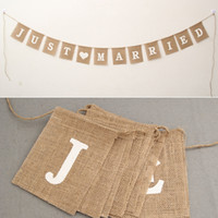 Wholesale Vintage Flax - Jute Rope Flax Wedding Photo Props Vintage Banner Jute Burlap Bunting Just Married Rustic Garland Party Wedding Decoration ZA3649
