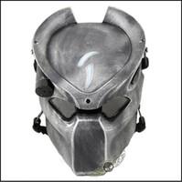 tam yüz airsoft taktik kafatası maskesi toptan satış-Üst Sınıf Reçine Gümüş Airsoft Paintball Taktik Tam Yüz Koruma Kafatası Maskesi CS Savaş Oyunu Maske Açık Cosplay Ücretsiz boyutu