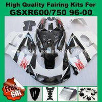 Wholesale 98 Gsxr Fairings - 9Gifts fairing kit for SUZUKI GSXR600 GSXR750 1996 1997 1998 1999 2000 GSX-R600 GSX-R750 96 97 98 99 00 GSXR 750 600 Fairings white black