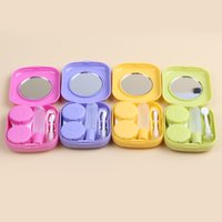 Wholesale Contact Lens Cases Mirrors - 2017 New Cute Style Pocket Mini Contact Lens Case Travel Kit Easy Carry Mirror Container Mixed Colors