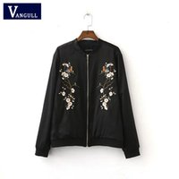 Women black flower outerwear - Harajuku Bird Plum Flower Embroidery Jacket New Women Contrast color Floral Bomber Jacket Coat Pilots Outerwear Black