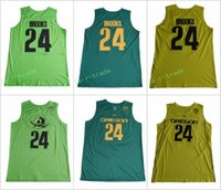 Oregon Ducks # 24 Dillon Brooks Cosido Universidad Verde Amarillo Casa Camino Alternativo Hombres Baloncesto Jerseys
