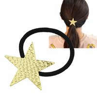 Wholesale Trendy Hair Rubber - Lovely Hair Trendy Fashion Jewelry Elastic Rope With Gold-Color Star Shape Hairbands Hairwear For Women
