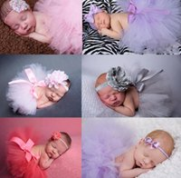 Wholesale Fancy Baby Headbands - Newborn Toddler Baby Girl Children's Tutu Skirts Dresses Headband set Fancy Costume Yarn Cute 15 Colors