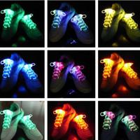 cordones de fibra óptica led al por mayor-LED Light Shoe Lace Flashing Fibra Óptica LED Shoelaces Luminous LED Shoes Laces Fashion 3ra generación Blister Box Party Disco Dance