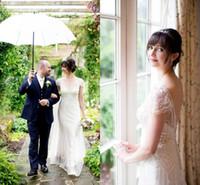 свадебные платья jenny packham оптовых-старинные gastby Дженни Packham свадебные платья открытой спиной старинные пляж свадебные платья оболочка глубокий V-образным вырезом с коротким рукавом для Boho свадебная одежда
