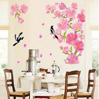 60 * 90cm style chinois Peach Blossom et oiseau Stickers muraux DIY Art Decal Removable Wallpaper Mural Sticker pour le salon DF5089