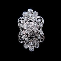 Wholesale Small Flower Brooches - Rhodium Silver Plated Rhinestone Crystal Flower Small Pin Brooch