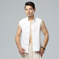 Wholesale chinese high collar jacket - Wholesale- New Chinese style men's summer casual vest sleeveless jacket high-quality linen waistcoat men fashion cozy vest coat Q301