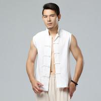 Wholesale Chinese Style Coat Men - Wholesale- New Chinese style men's summer casual vest sleeveless jacket high-quality linen waistcoat men fashion cozy vest coat Q301