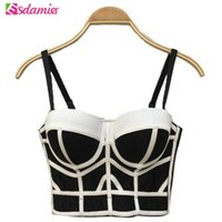 Wholesale Push Up Bra Tank Top - Wholesale- Fashion Stripe Patchwork Bustier Crop Top Brand New Women's Sexy Crop Top Bandage Push Up Corset Outwear Bra Women