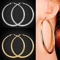 Wholesale Basketball Wives Gold Hoops - U7 Classic Simple Big Round Hoop Dangle Earrings 18K Gold Platinum Plated Basketball Wives Fashion Jewelry Gift for Women E6391