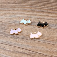 Wholesale Korea Wholesale Gold Necklace - Free Shipping 20 pieces korea Style New Zinc Alloy Cute Dog Floating Enamel Charm Pendants Fit Necklace Bracelet DIY 14*11mm