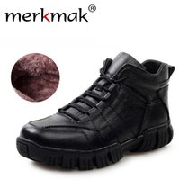 Wholesale Russian Boots - Wholesale- Hot Super Warm Russian Winter Boots Genuine Leather Men Shoes Thicken Fur Men Ankle Boots Waterproof Winter Outdoor Footwear