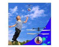 Wholesale induction control rc helicopter - NEW Toys RC Helicopter Ball Flying Induction LED Noctilucent Ball Quadcopter Drone Sensor Suspension Remote Control Aircraft for Kids Xmas