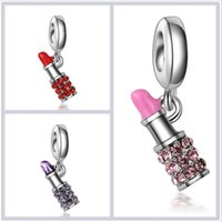 Wholesale Wholesale Lipstick Pendant Necklaces - 2017 50pcs lot lipstick pendant Mosaic crystal silver bracelet necklace Key chain DIY accessories Jewelry For Women wholesale Free shipping