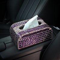Wholesale Crystal Tissue Box - Wholesale- Luxury Creative Crystal Car Holder Tissue Paper Box Case for Women Auto Interior Accessories - Purple