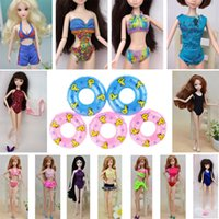 Wholesale Bikini Sexy Doll - 5Pcs Sexy Swimwear Bikini Clothes For Barbie Doll & 5pcs Mini 1:6 Doll Swimming Buoy Lifebuoy for Barbies Doll Accessories