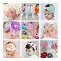 Wholesale Lace Flowers For Headbands Vintage - New Europe 2017 Baby Girls Hair Accessories Headbands Vintage Chiffon Polka Dots Flowers Infant Children Hair Bands 9 Style For Choose C2493