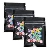 Wholesale translucent square plastic - 6.5x9cm(2.5x3.5in) 100X Glossy Translucent Tear Notch Flat Pouch Mylar Reclosable Small Plastic Black Zip Lock Bag