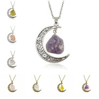 Wholesale moon necklace colors - Vintage Natural Stone Moon Pendant Necklace Crystal Pendants for Women ancient Silver Plated Fashion Jewelry 8 colors BY DHL 161729