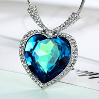 Wholesale Swarovski Necklace Ocean Heart - MADE WITH SWAROVSKI ELEMENTS Titanic Ocean Heart Pendant Necklaces Women Fashion Neoglory Jewelry 2017 New Romantic