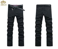 Wholesale Fits Commercial - Wholesale- MIUK Commercial Wear Men Pants Straight Zipper Slim Fit Large Size 44 46 Men Black Blue Trousers Autumn Spring Cotton 2016 New