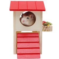 Wholesale Hamster Playhouse - Red Roof Rat House Wooden Hamster Ladder Pet Small Animal Rabbit Mouse Hideout Luxury Home 2 Storey Platform Playhouse Nest