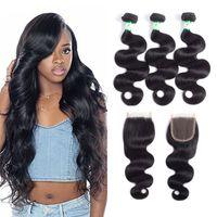 12 zoll malaysia weben großhandel-8A Malaysia Hair Body Wave Haarverlängerungen bündelt 8-26 Zoll 100% reines Menschenhaar spinnt natürliche Farbe 3/4 Bundles mit 4 * 4 Verschluss