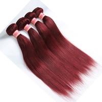 peru saç ürünleri vücut dalgası toptan satış-Bordo Saç Ürünleri Perulu Malezya Hint Brezilyalı Bakire Düz / Vücut Dalga Saç Örgüleri 99j Insan Saç Demetleri