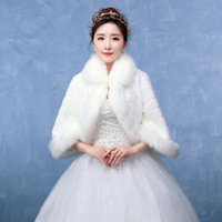 Wholesale Ladies Mink Jackets - 2017 Off White Ivory Bridal Wraps Winter Wedding Cape Flare Sleeve Mink Faux Fur Elegant Ladies Evening Jackets Wedding Shawl Shrug Boleros