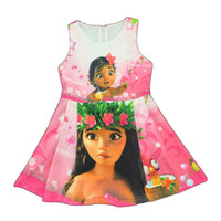 Wholesale Girl Chiffon Dress Tutu - Girl Moana Princess dress New Children high quality cartoon moana sleeveless vest dresses clothes 2-8 years B001