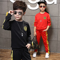 Wholesale Preppy Clothes For Boys - 2017 Spring and Summer Leisure Suits Sportswear For Boys and Girls, Long-sleeved T-shirt+Pants Two Pieces Suit Kids Clothes