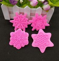 Wholesale Flower Embosser - Wholesale- 4Pcs lot Flower Shape Cake Embosser Press Mold Biscuit Stamps Fondant Sugar craft Cookie Cutter Kitchen Tools